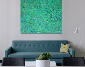 """Pamela Rys - TRAPPIST-1g 47"""" x 36"""" - 120 x 100 CM highly textured original painting - large abstract landscape by Pamela Rys"""