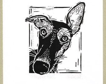 Whippet Dog art print  - Linocut Original hand pulled Relief Print