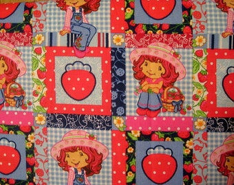 Strawberry, Shortcake, Fabric, Cotton Fabric, Fat Quarter, (17.75 X 22), Patchwork, Blocks, Blue, Red, Fq, scrap, remnant, strawberries,