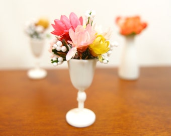 1:12 Pink Blossoms & Foliage in Milk Glass Floral Arrangement, Flowers Bouquet in Wine Vase, OOAK one inch scale dollhouse artisan miniature