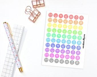 Reminder icon planner stickers - 70 rainbow planner stickers, functional dot stickers, circle stickers, round stickers, icon stickers