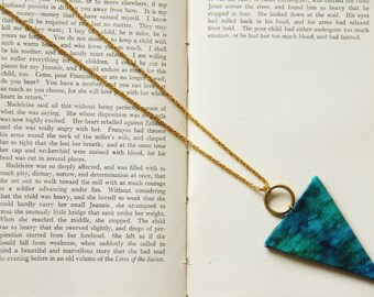 SALE Marbled Aquamarine Triangle Necklace