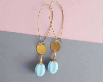 Brass vintage blue glass long earrings