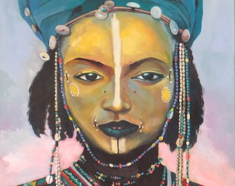 African Tribal Girl. Original painting by Kirsten Todd