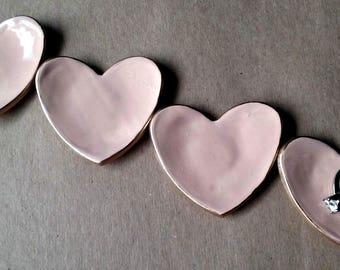 FOUR Ceramic Heart Ring Dishes Ring Bowls Bridesmaid favors Baby shower favor wedding favor Blush With Gold Edge  2 1/2 inches  itty bitty