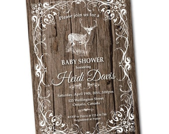 Rustic woodland baby shower invitation. Deer Baby Shower Invite. Baby boy or baby girl. Printable digital DIY.