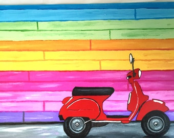 Red Vespa Scooter Print