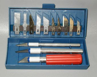 Exacto knife set hobby craft art straight curve blades aluminum handle BRAND NEW professional trim etch cut