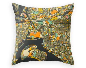 SAN DIEGO MAP Throw Pillow for your Home Décor (dark version)