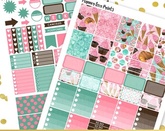 50%off ICE CREAM PRINTABLE Planner Stickers | Instant Download | Pdf and Jpg Format
