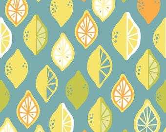 Monaluna Lemon Lime Juicy Organic Cotton Fabric