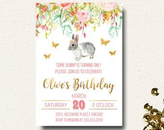 Bunny Invitation | Some Bunny Invitations | Birthday | Flower Invite | Printable Birthday | Floral