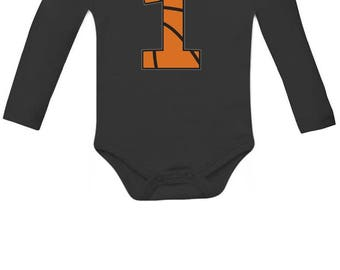 Basketball 1st Birthday Gift for One Year old Infant Baby Long Sleeve Bodysuit