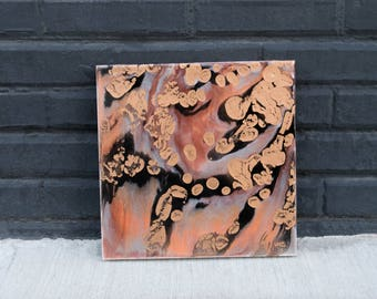 Original 12x12 in. Abstract Resin Painting -  on Cradled Wood Panel - Gold, Black, Copper, Bronze, Silver - Wall/Dorm Art
