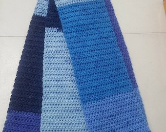 """Handmade:  Crochet Scarf from Caron Cake """"Blueberry Cheesecake"""" Variegated Blue's"""