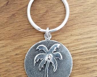 Silver Palm Tree Keychain