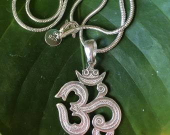 Sterling Silver Om Aum Ohm Necklace, Sterling Silver Om, Om Pendant, Zen, Yoga Jewellery