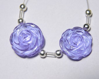 2 Pcs Very Attractive purple Quartz Hand Carved Flower Shaped Beads Size 18X18 MM