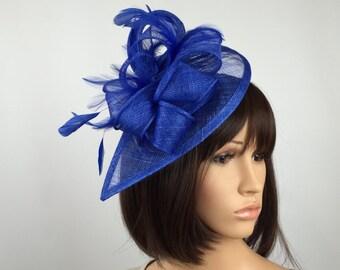 Royal Blue Fascinator teardrop Sinamay Fascinator wedding mother bride  Ladies Day   Ascot races a451e937a19