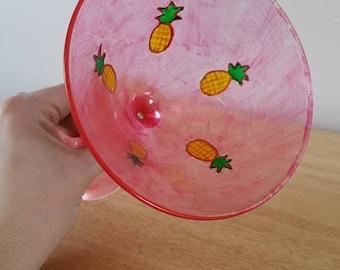Pineapple Martini Glass- Handpainted and Dishwasher Safe