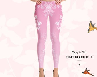 Pretty in Pink Ombré Leggings - Designer Fashion Active Tights Leggings - That Black Dot Legs