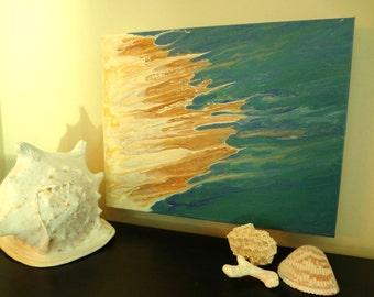 Blue Painting, Abstract Painting,Teal Wall Art, Beach Decor Coastal,Flow Arts,Beach Artwork,Beach Decor,Surf Decor, Surf Art,Modern Art