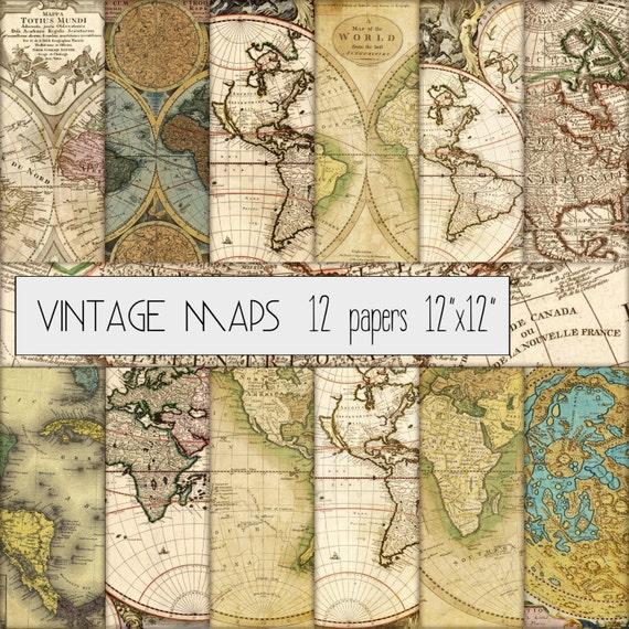 Vintage maps digital scrapbook paper set of 12 vintage maps digital scrapbook paper set of 12 12x12 grungy old map distressed map antique map medieval mapcardmaking scrapbooking gumiabroncs Images