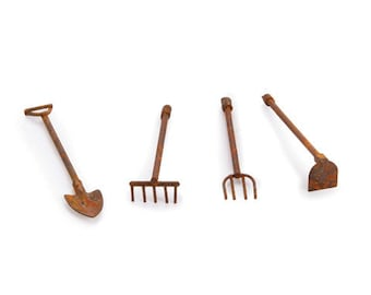 Fairy garden miniature gardening tools.Rustic miniature garden tools.Dollhouse miniatures.Fairy garden tools.Rusty set of 4 tools.miniatures