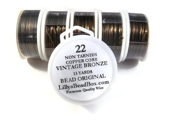 Vintage Bronze Plated Wire - 22 Gauge Wire for Making Jewelry, 15 Yards of Non Tarnish Wire, Wire Wrapping Supplies