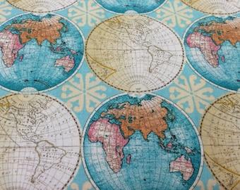 Vintage Style Globes World Map fabric, novelty fabric, world, map, globe, countries, cotton fabric