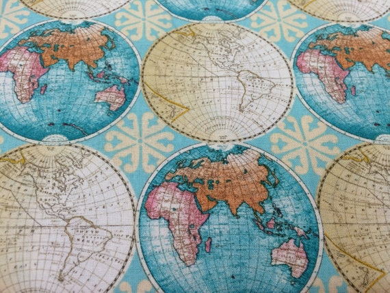 Vintage style globes world map fabric novelty fabric world map vintage style globes world map fabric novelty fabric world map globe countries cotton fabric gumiabroncs Gallery