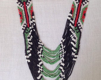 Statement Tribal necklace Philippine necklace Green Bead necklace Woven bead necklace
