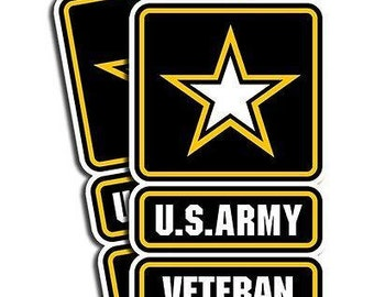 "U.S. ARMY Veteran   2 pack  Vinyl Stickers for Vehicles, Tool Boxes, Lunch Boxes, Bumper Stickers,  each is 5"" tall"