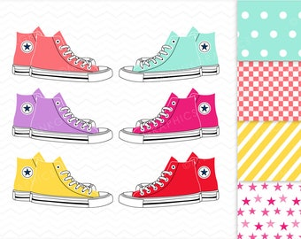 All Star Converse Clipart + Digital Paper - Shoes Clipart, AllStar, Tennis Clipart, Vector Clipart. Instant Download. Commercial Use - MPG32