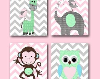 Pink Grey Playroom Giraffe Nursery Elephant Nursery Baby Girl Nursery Art Printable Art Instant Download Kids Room Decor set of 4 8x10 11X14