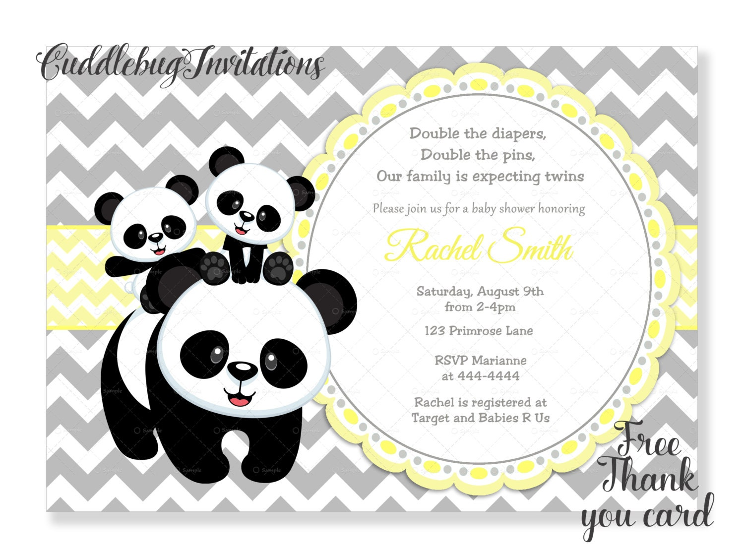 Yellow Panda Twins Baby Shower Invitation Gender Neutral