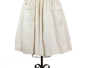 ON SALE 1950s Skirt // Striped Cotton Ticking Beige and Cream Big Pocket Skirt