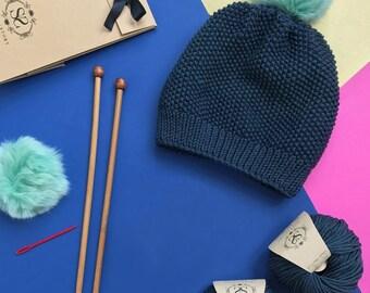 Faire votre propre toque en fausse fourrure pompon tricot Kit