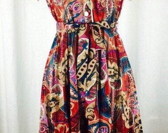 Vintage 60s 70s semi sheer paisley belted pleated skirt lady dress