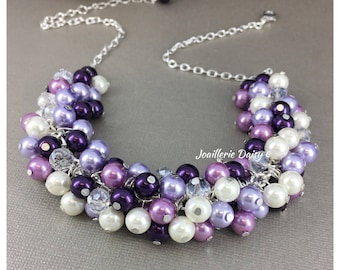 Shades of Purple Necklace Bridesmaid Necklace Purple Pearl Necklace Chunky Necklace Cluster Necklace Wedding Gift for Her Miad of Honor