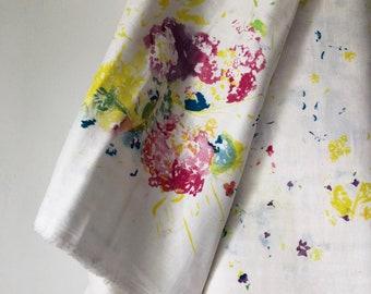 Encounter A Double Gauze Fabric By The Yard, Half Yard, Nani Iro Double Gauze, Japanese Apparel Fabric, Purple Floral Fabric, Gauze Flowers