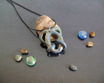Jewelry Pendant necklace raku ceramic pendant glazed with metallic luster