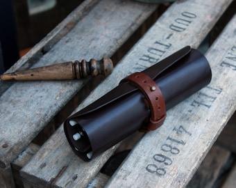 Leather pencil roll, pencil roll, pen case, pencil case, pencil wrap, pencil roll up, tool roll