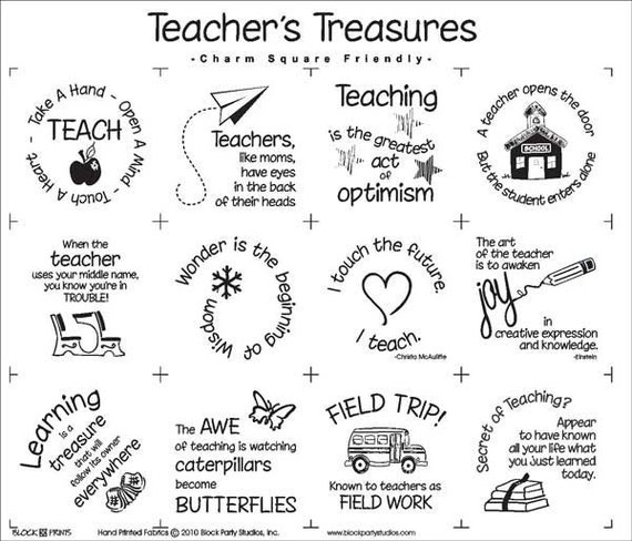 Teacher's Treasures Fabric Panel Teacher Gift School
