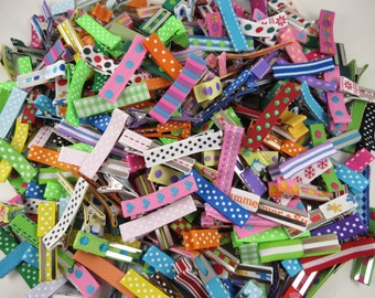 Random Mix of 12 Printed Alligator Clips - Lined Alligator Clips - Grab Bag - Printed Ribbon Lined Clips - Partially Lined Alligator Clips