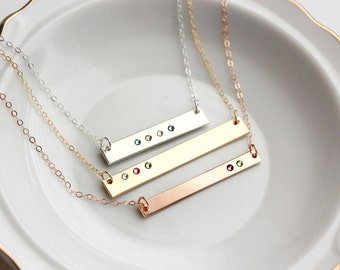 Birthstone Bar Necklace - Birthstone Necklace, Gold Bar Necklace, Gifts for Mom, Personalized Necklace for Mom, Bar Necklace Personalized