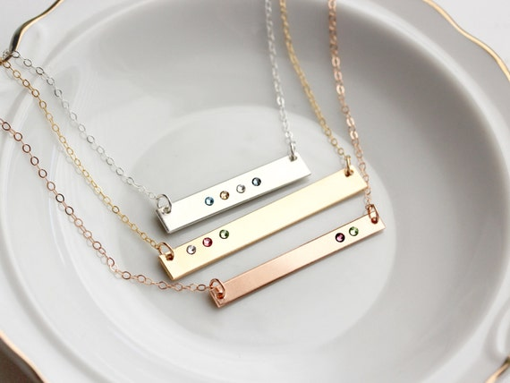 Birthstone bar necklace personalized birthstone necklace like this item mozeypictures Choice Image