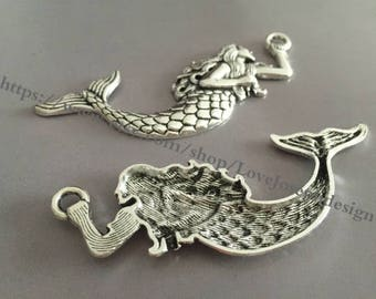 5 Pieces /Lot Antique Silver Plated 78mmx33mm mermaid charms (#066)