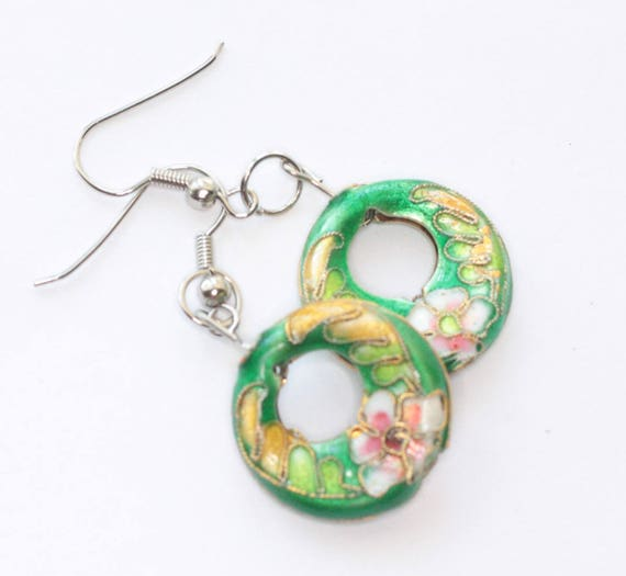 Cloisonne Dangle Earrings Floral Pink and Green Open Circle Shape