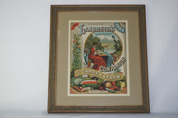 1884 Beautiful Landreth's Seed Co Framed Advertisement Catalog 100th Anniversary